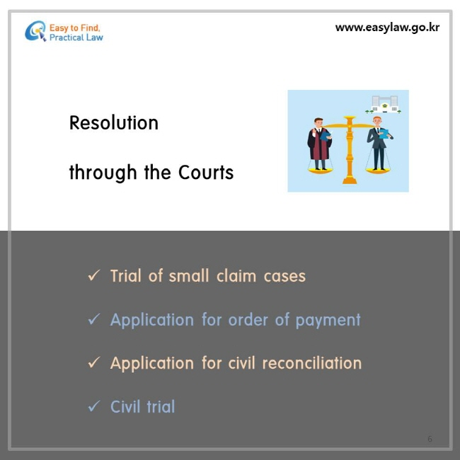 Resolution through the Courts, Trial of small claim cases, Application for order of payment, Application for civil reconciliation, Civil trial